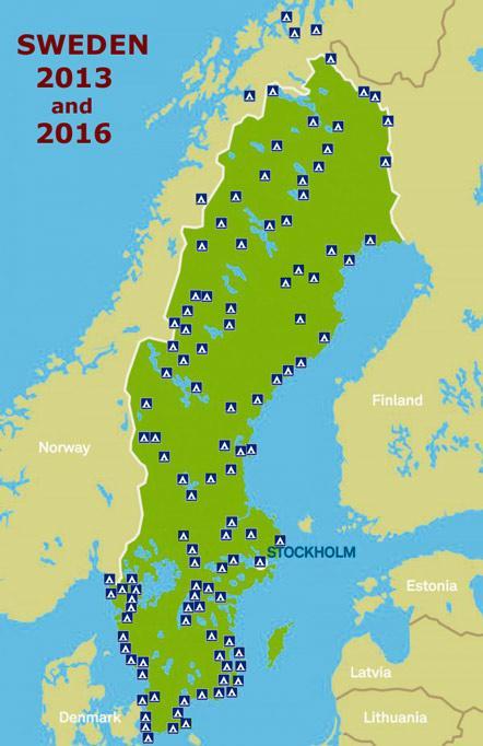 Camping Sverige Kart Sverige Camping Kart Nord Europa Europa