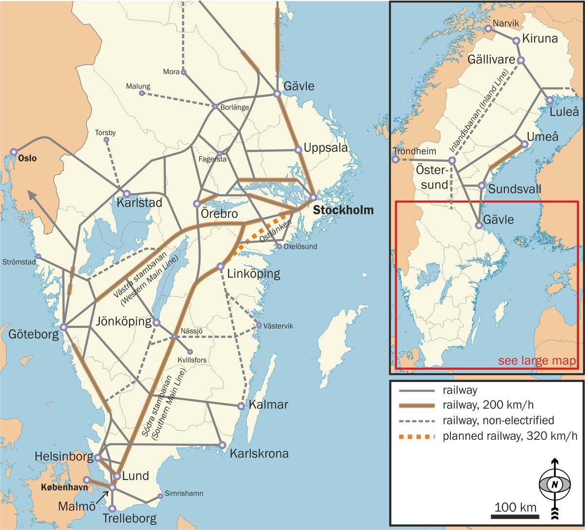 jernbane sverige kart Svensk jernbane kart   svensk tog kart (Nord Europa   Europa) jernbane sverige kart