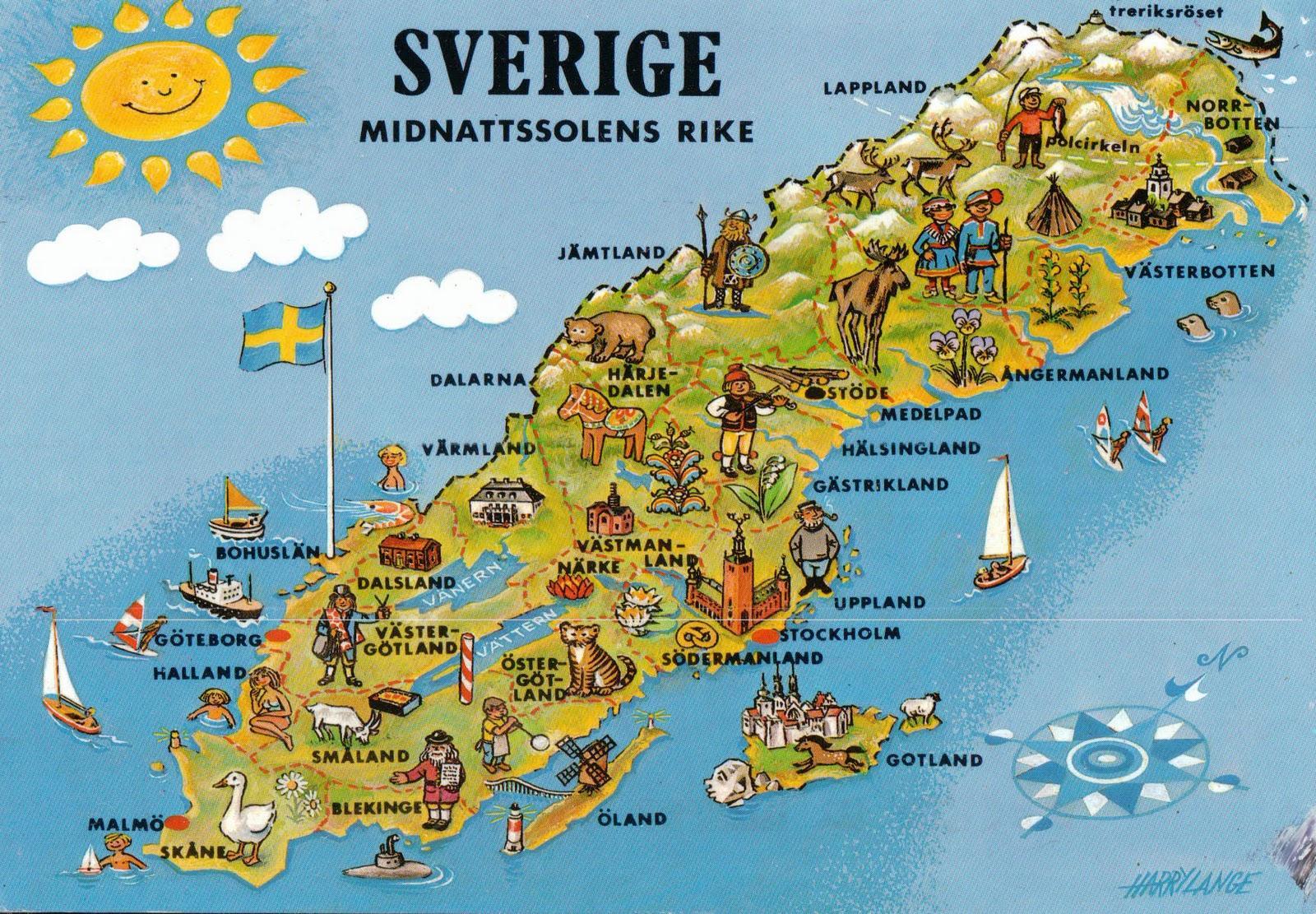 kart nord europa Sverige turist kart   Turist kart Sverige (Nord Europa   Europa) kart nord europa