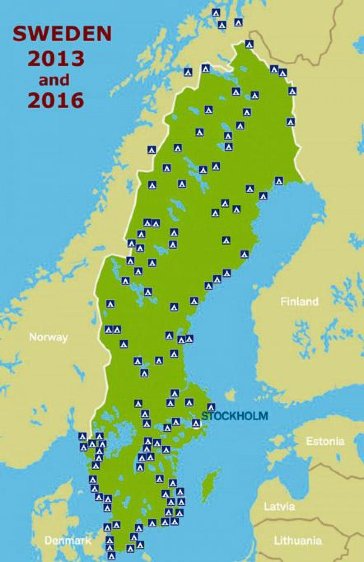 kart over camping sverige Camping Sverige kart   Sverige camping kart (Nord Europa   Europa) kart over camping sverige
