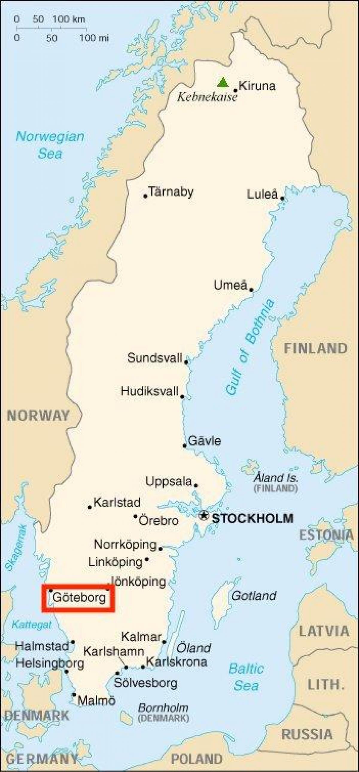 Goteborg Sverige Kart Sverige Goteborg Kart Nord Europa Europa