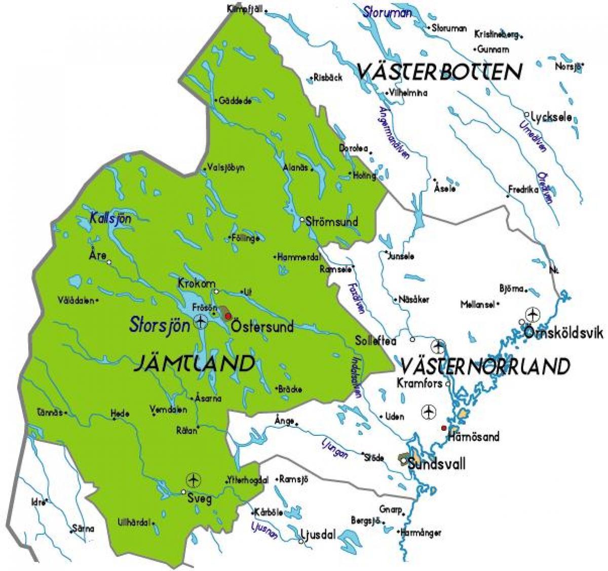 kart jämtland Jamtland i Sverige kart   Kart over Jamtland i Sverige (Nord  kart jämtland