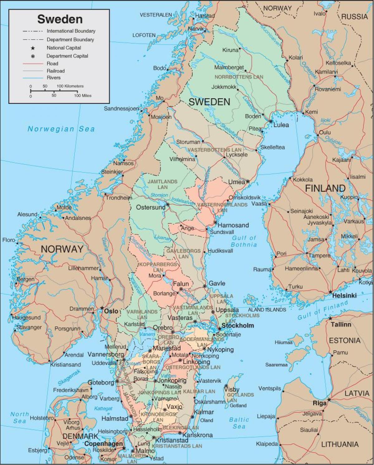 kart sverige Kart Sverige   Detaljert kart over Sverige (Nord Europa   Europa) kart sverige