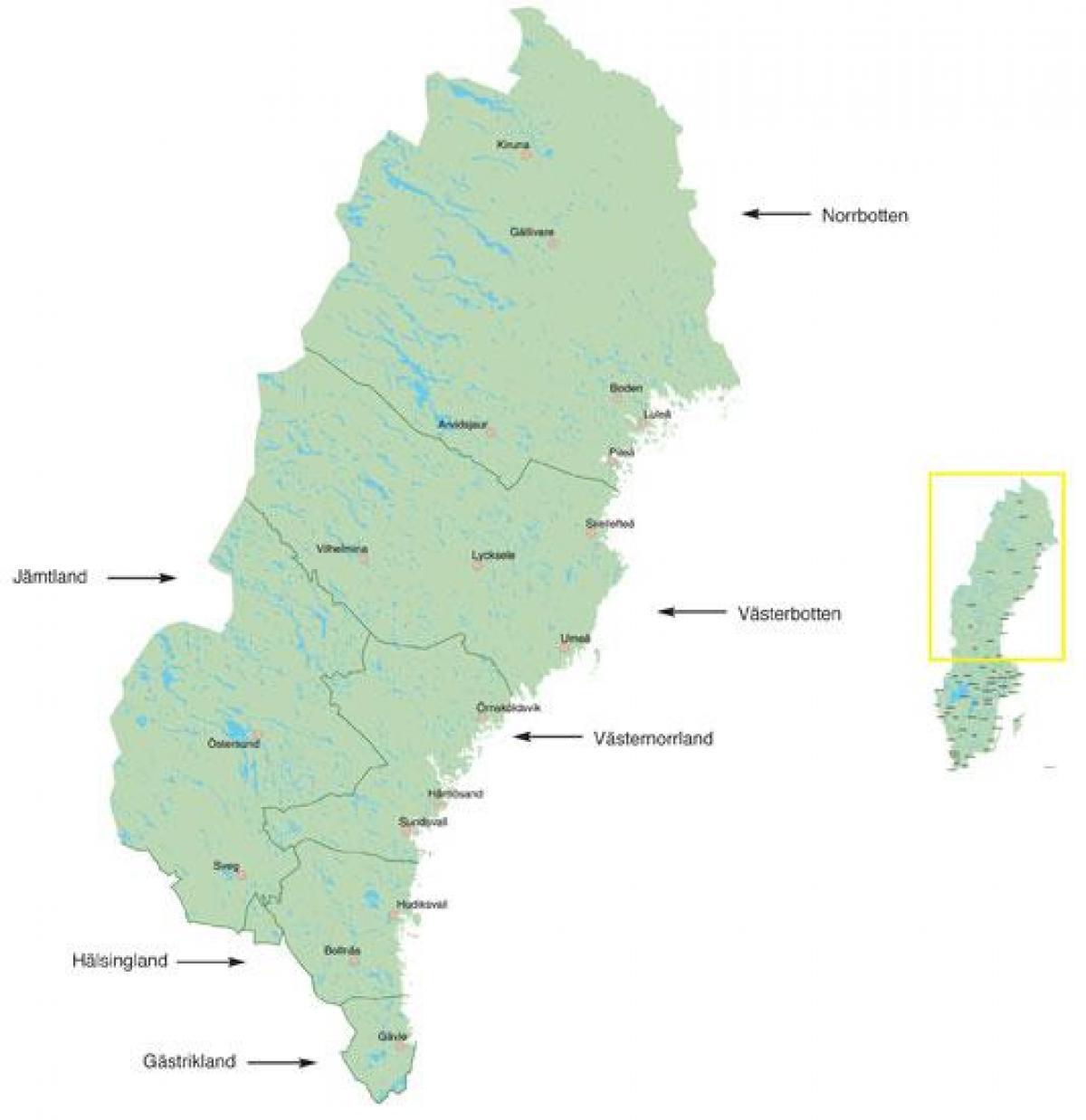 Nord Sverige Kart Kart Over Nord Sverige Nord Europa Europa