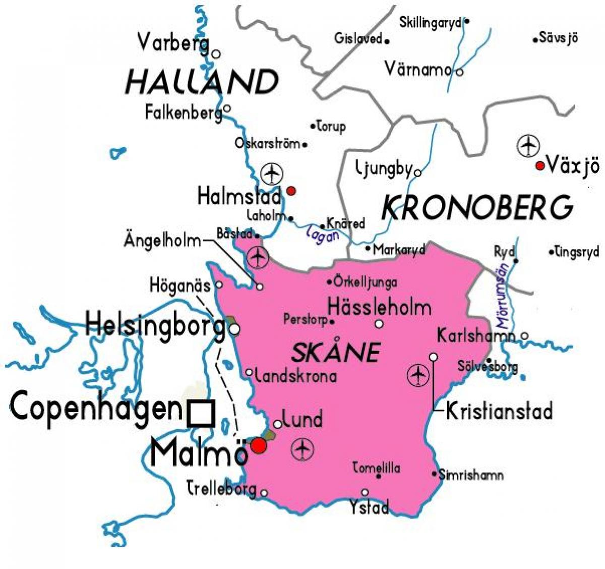 skåne sverige kart Skane, Sverige kart   Kart over Skåne i Sverige (Nord Europa   Europa) skåne sverige kart