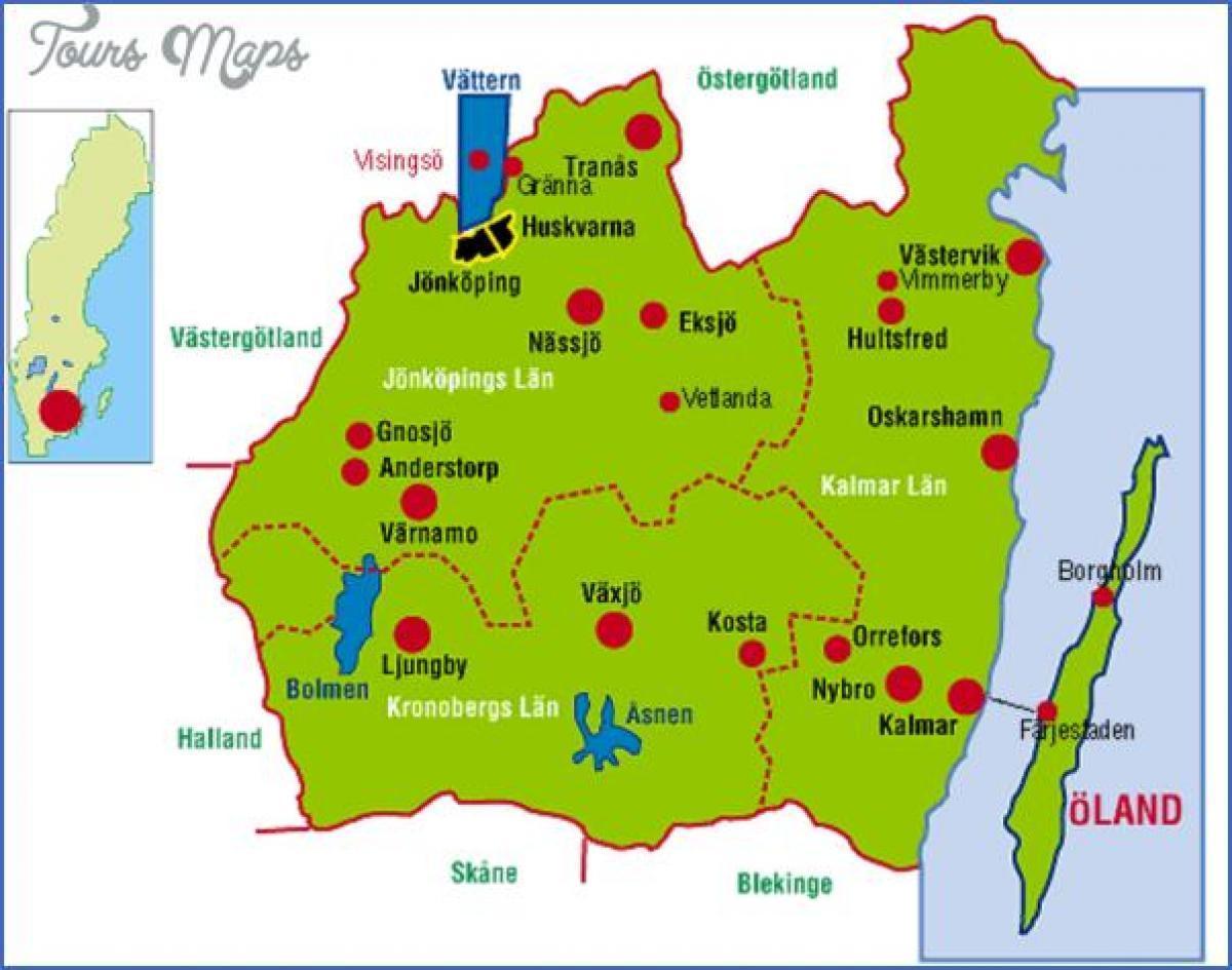 småland kart Smaland Sverige kart   Kart over Smaland Sverige (Nord Europa  småland kart