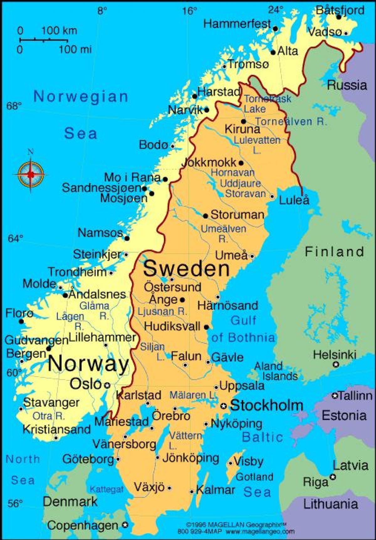 kart over sverige med byer Svenske byer kart   Kart over Sverige byer (Northern Europe   Europe) kart over sverige med byer