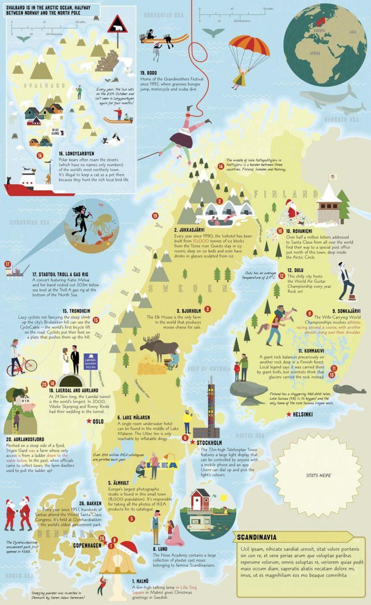 lund i sverige kart Sverige attraksjoner kart   Sverige attraksjon kart (Nord Europa  lund i sverige kart