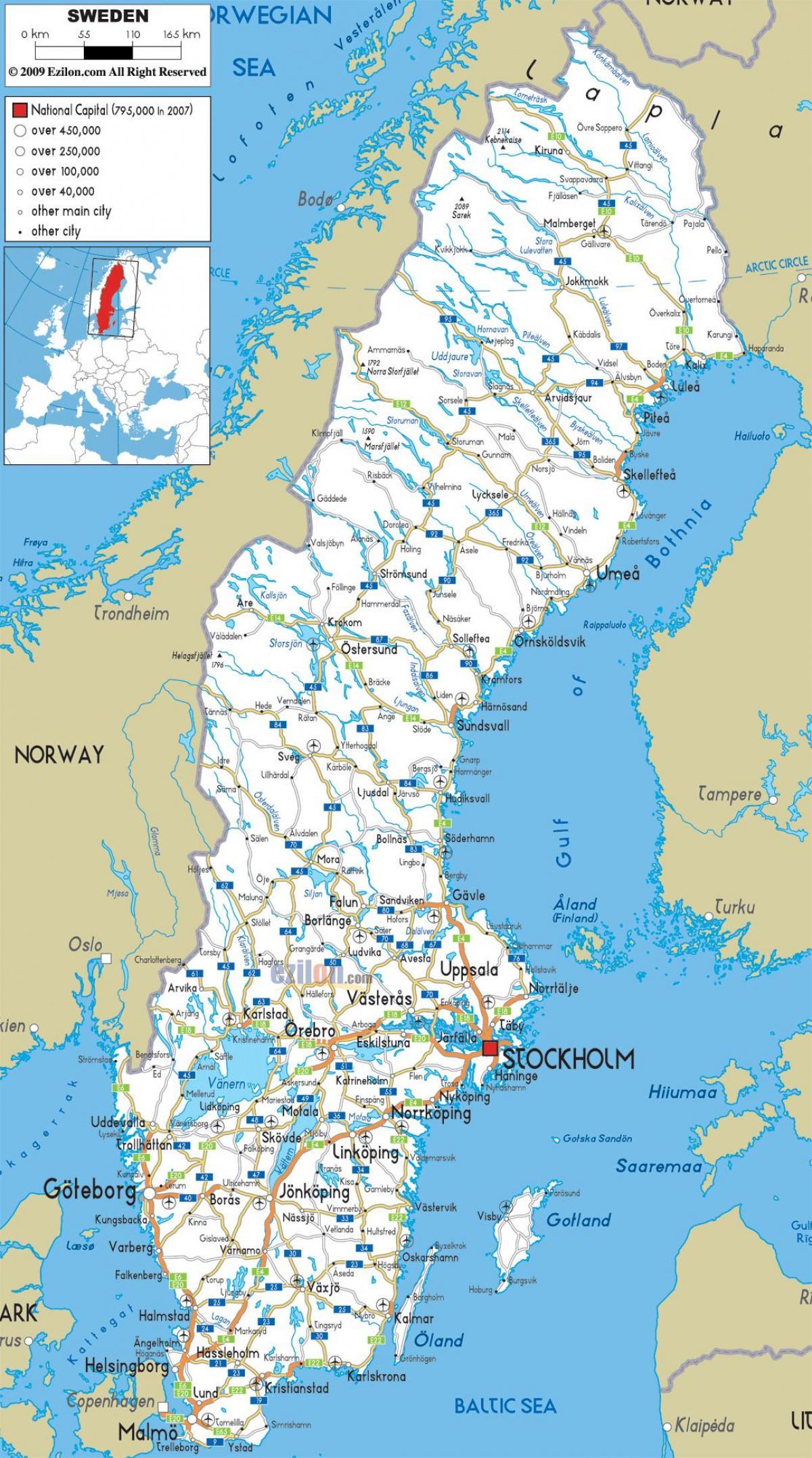 kart over sverige se Sverige byer kart   Sverige kart med byer (Northern Europe   Europe) kart over sverige se