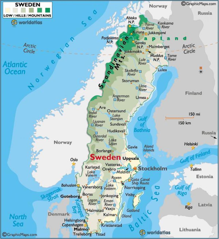 nord sverige kart Sverige fjell kart   Fjellene i Sverige kart (Nord Europa   Europa) nord sverige kart