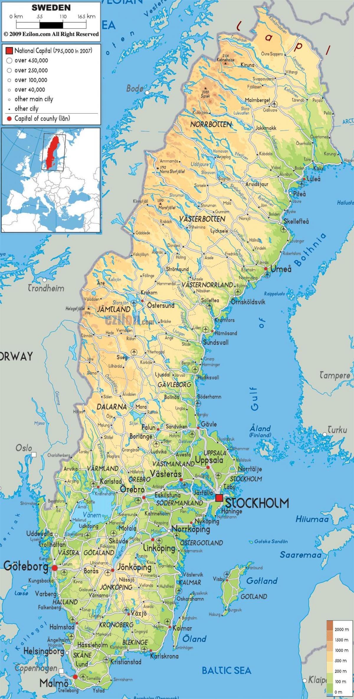 kart over öland sverige Sverige geografi kart   Geografiske kart over Sverige (Nord Europa  kart over öland sverige
