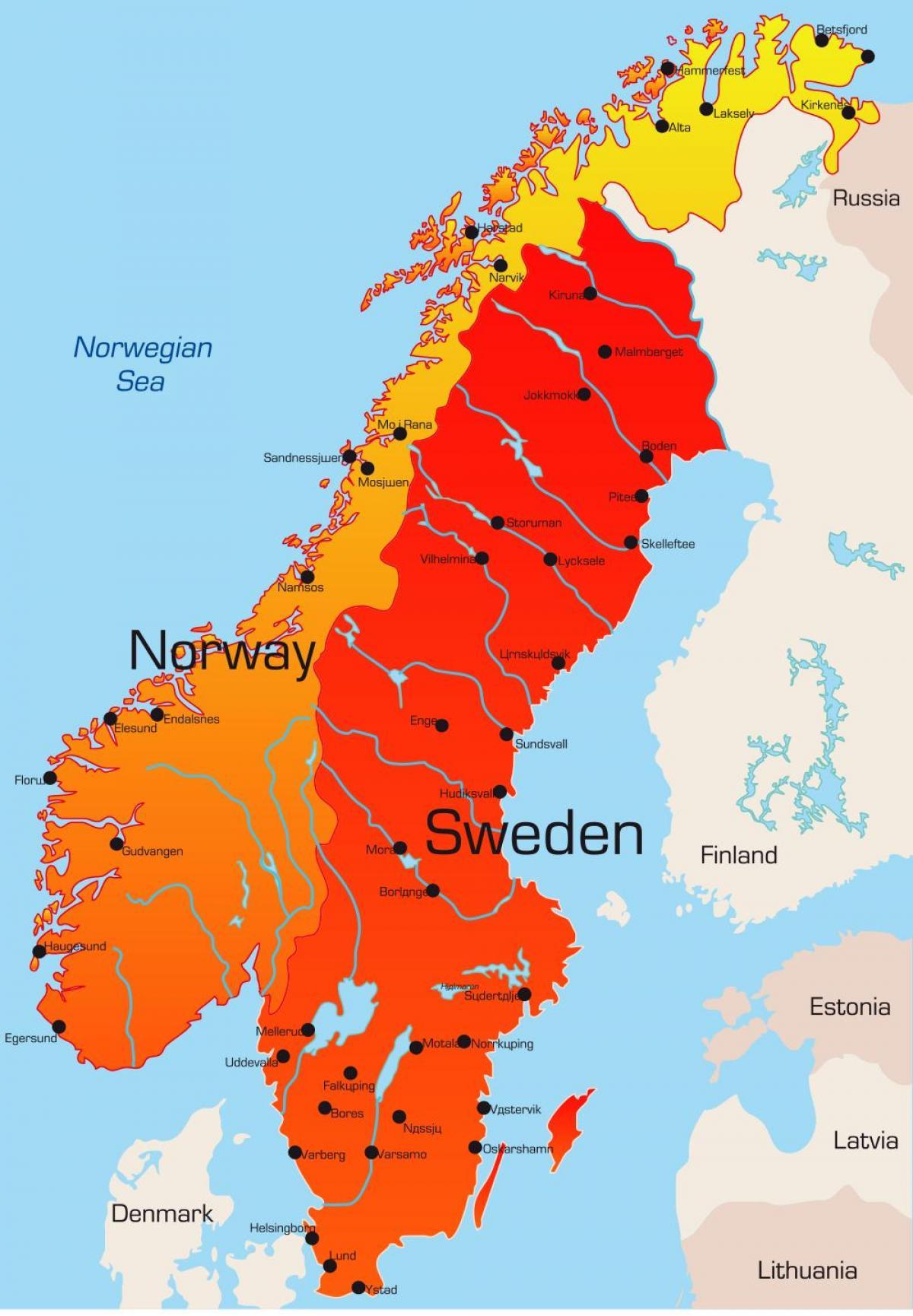 svensk kart Sverige kart byer   Kart over Sverige med byer (Northern Europe  svensk kart