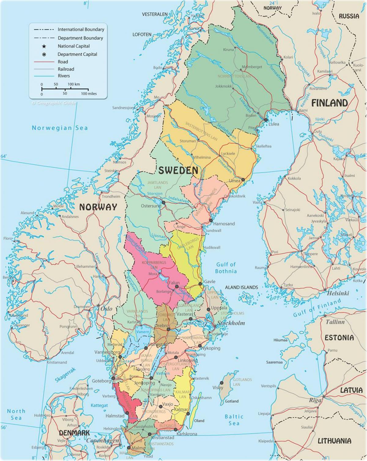 Sverige Politiske Kartet Politiske Kartet Av Sverige Nord