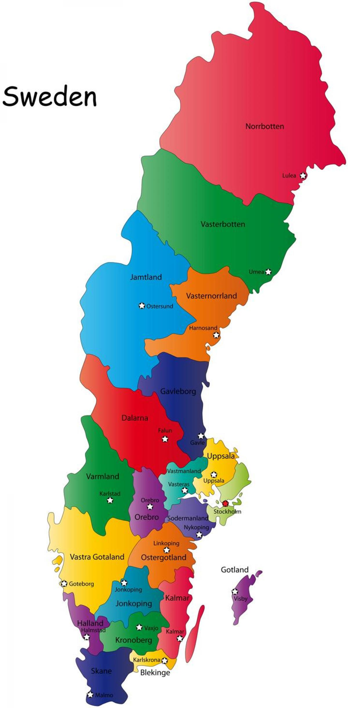 Sverige Regioner Kart Sverige Kart Regioner Nord Europa Europa