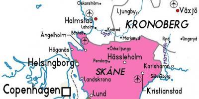 kart skåne Skane, Sverige kart   Kart over Skåne i Sverige (Nord Europa   Europa) kart skåne